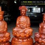 Sa Bà Tam Thánh ngồi (Phật Thích Ca, Bồ Tát Quan Thế Âm, Bồ Tát Địa tạng Vương)