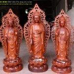 Bộ Tây Phương Tam Thánh đứng (Phật A Di Đà, Bồ Tát Quan Thế Âm, Bồ Tát Đại Thế Chí)