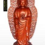 Tôn tượng Phật A Di Đà đứng tiếp dẫn có hào quang sau lưng